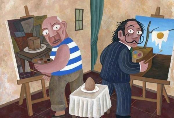 Picasso y Dalí pintando un huevo