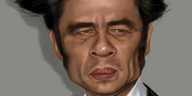 Caricatura de Benicio del Toro
