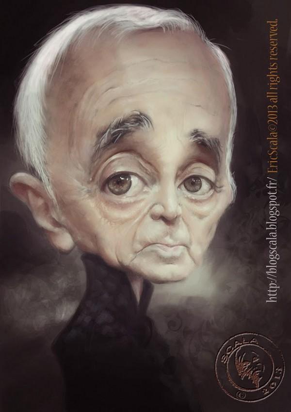 Caricatura de Charles Aznavour