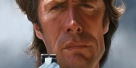 Caricatura de Clint Eastwood como Harry el sucio