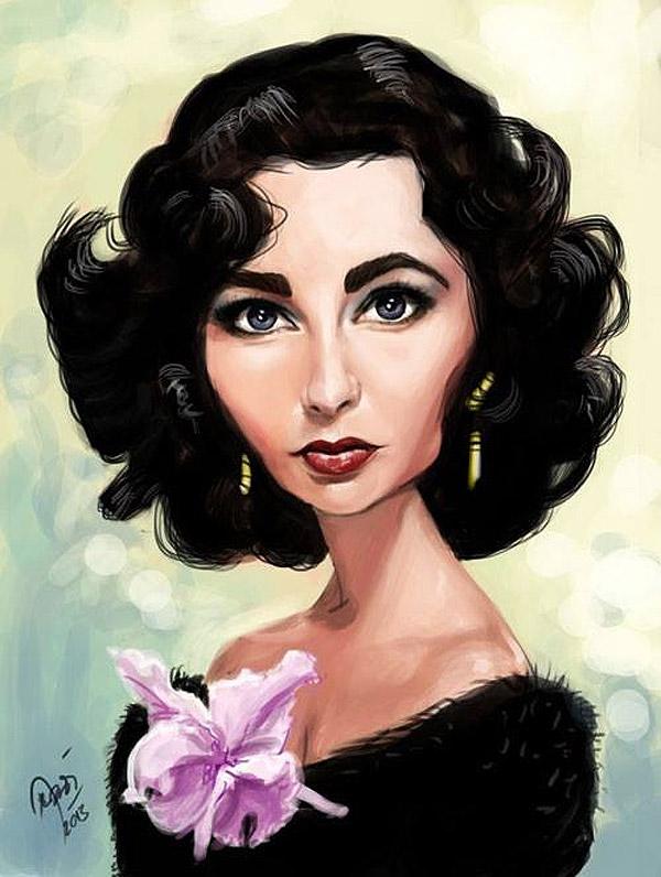 Caricatura de Elizabeth Taylor