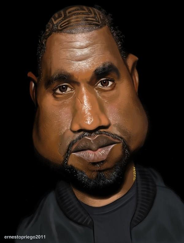 Caricatura de Kanye West
