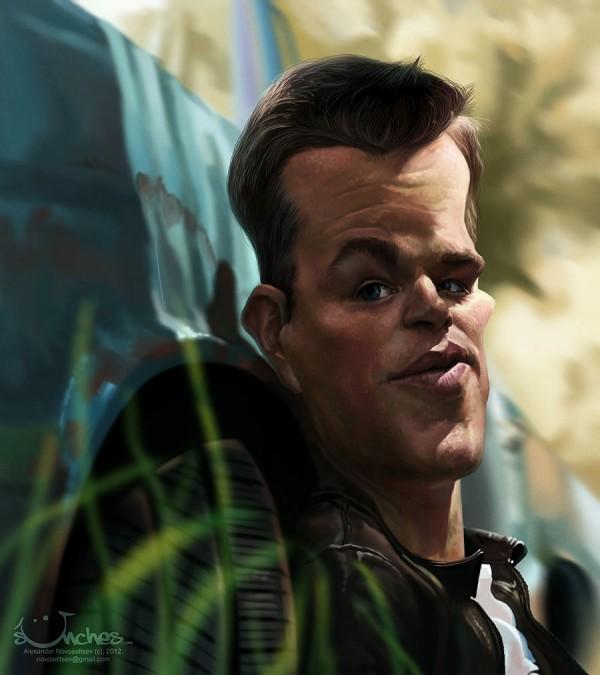Caricatura de Matt Damon