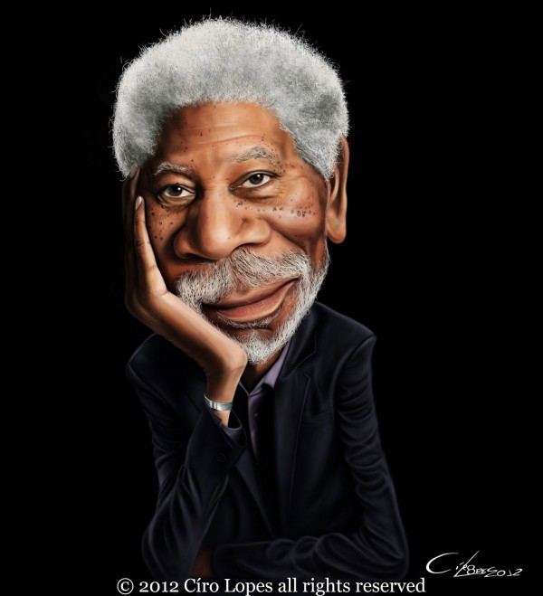 Caricatura de Morgan Freeman