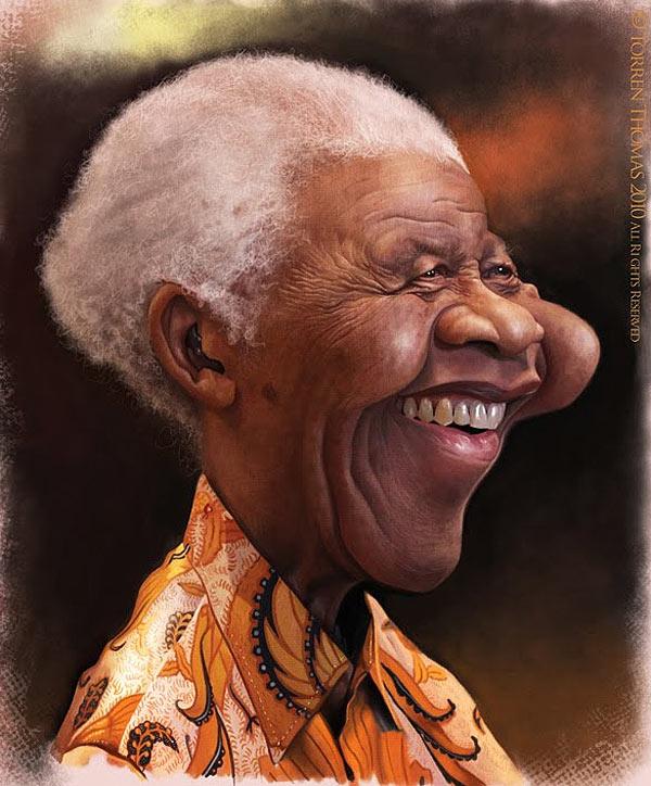 Caricatura de Nelson Mandela