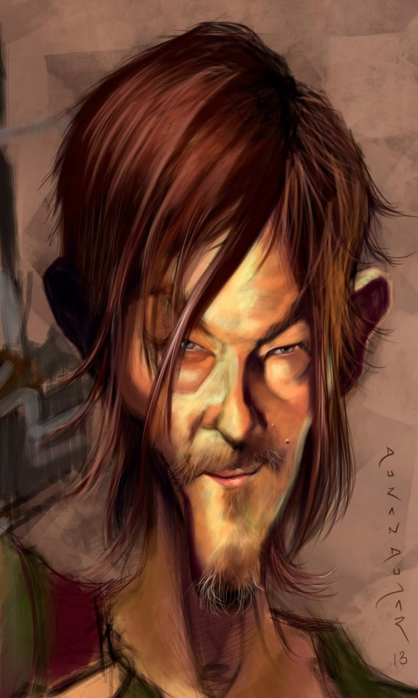 Caricatura de Norman Reedus como Daryl Dixon