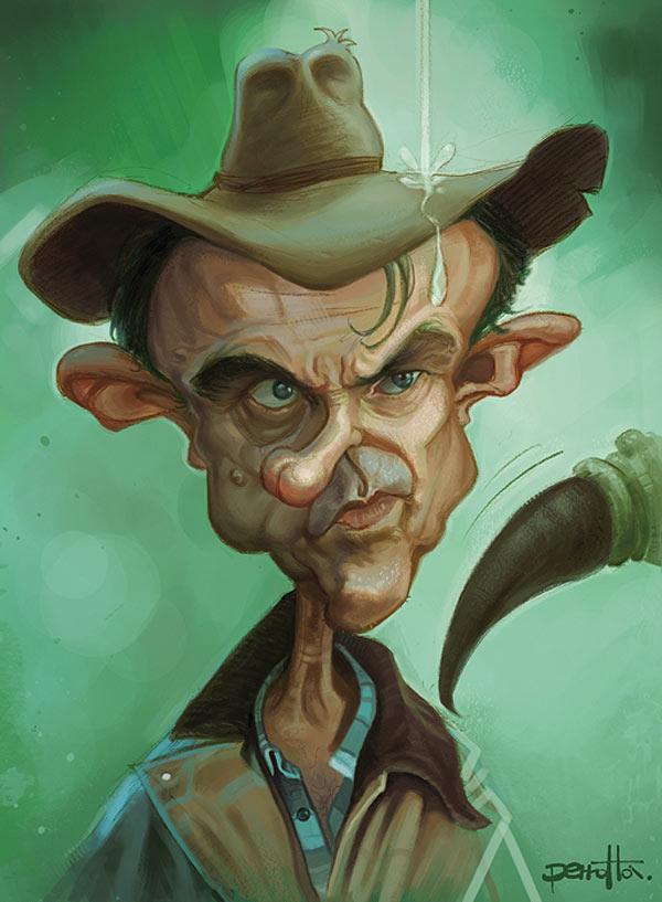 Caricatura de Sam Neill en Parque Jurásico