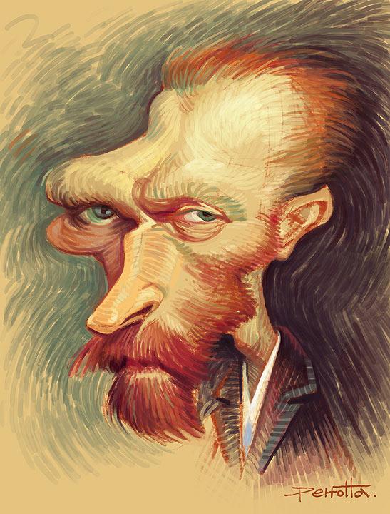 Caricatura de Vincent van Gogh