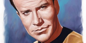 Caricatura de William Shatner como Capitán Kirk