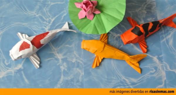 Carpas Koi hechas con Origami
