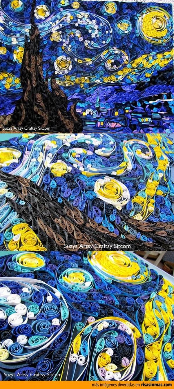 La Noche estrellada hecha con tiras de papel enrollado