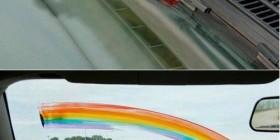 Pintaré un arcoíris en tu coche