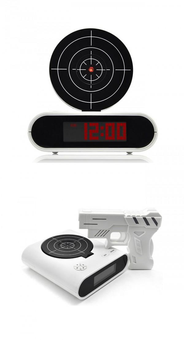 Reloj despertador juego tiro al blanco