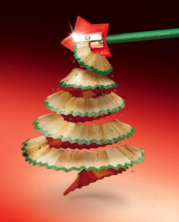 Árbol de navidad con un lápiz
