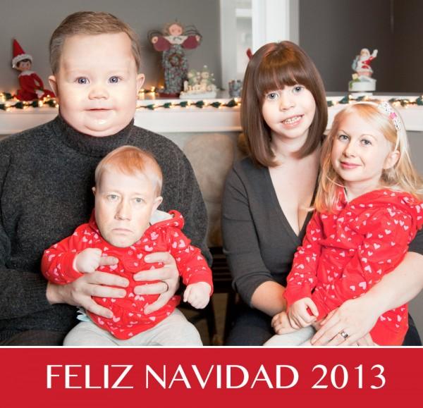 Felicita la Navidad intercambiado las caras
