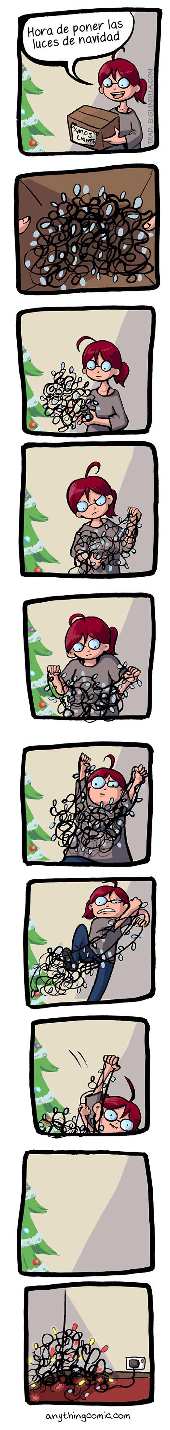 Hora de poner las luces de Navidad