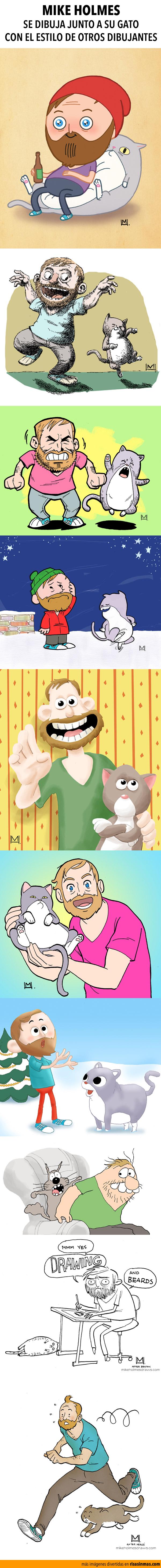 Mike Holmes y su gato