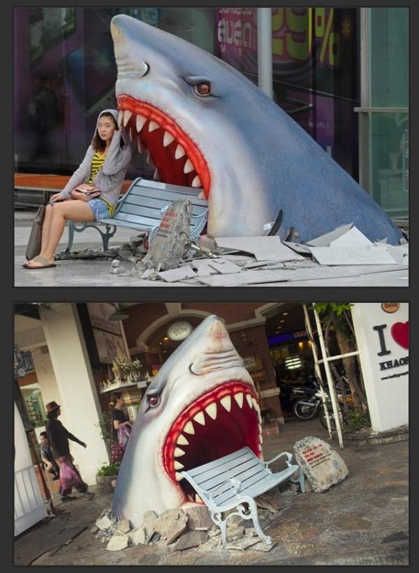 Publicidad creativa en un centro comercial