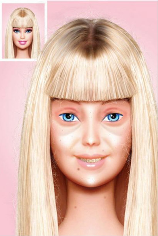 Barbie real, sin maquillaje