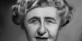 Caricatura de Agatha Christie