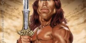 Caricatura de Arnold Schwarzenegger como Conan