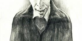 Caricatura de Christopher Lee como Drácula