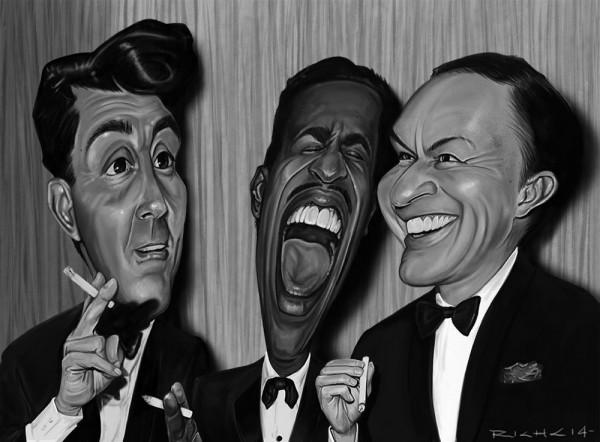 Caricatura de Dean Martin, Sammy Davis Jr. y Frank Sinatra