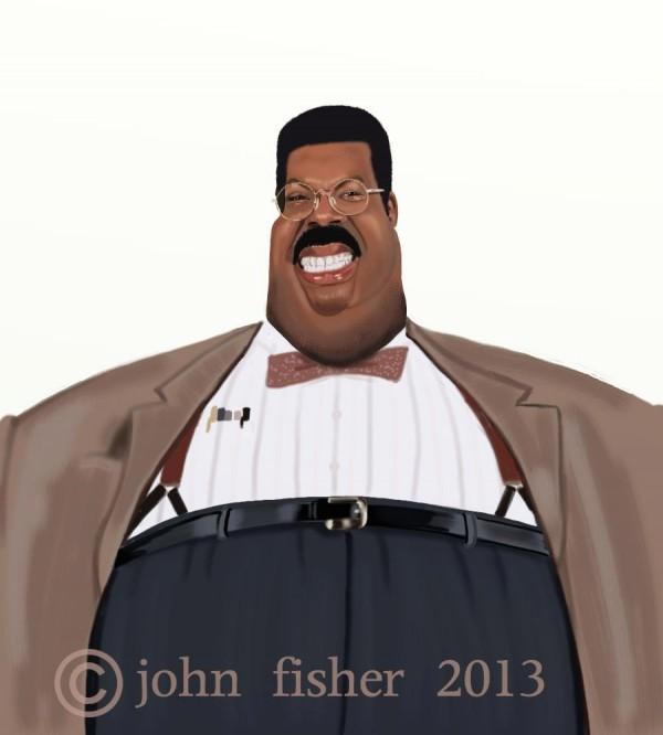 Caricatura de Eddie Murphy como El profesor chiflado