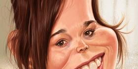 Caricatura de Ellen Page