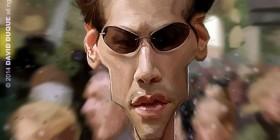 Caricatura de Keanu Reeves en Matrix