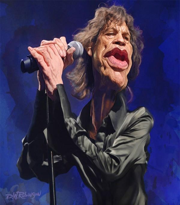 Caricatura de Mick Jagger