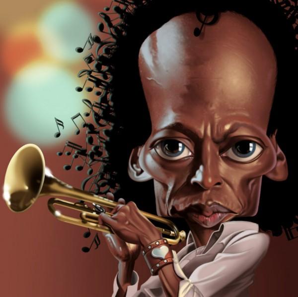 Caricatura de Miles Davis