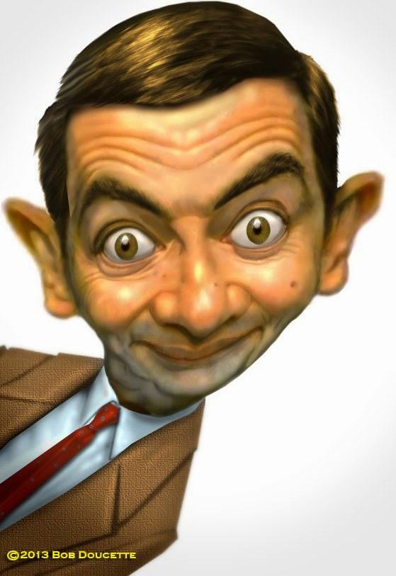 Caricatura de Rowan Atkinson como Mr. Bean