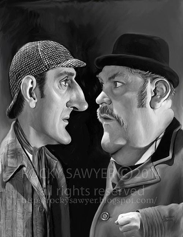 Caricatura de Sherlock Holmes y Dr. Watson