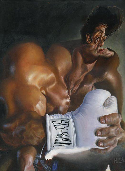 Caricatura de Sylvester Stallone como Rocky Balboa