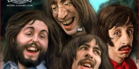 Caricatura de The Beatles