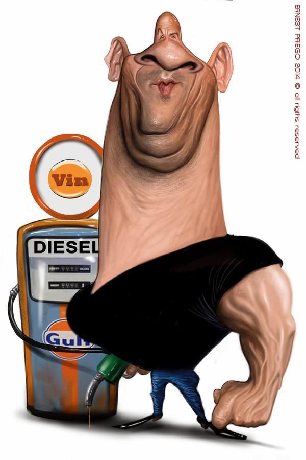 Caricatura de Vin Diesel