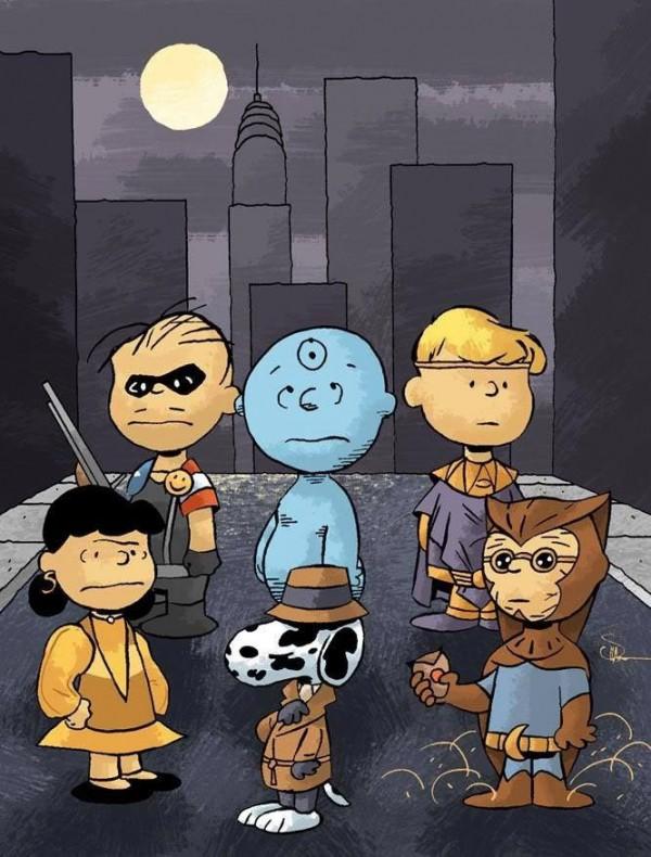 Los personajes de Charlie Brown como los Watchmen