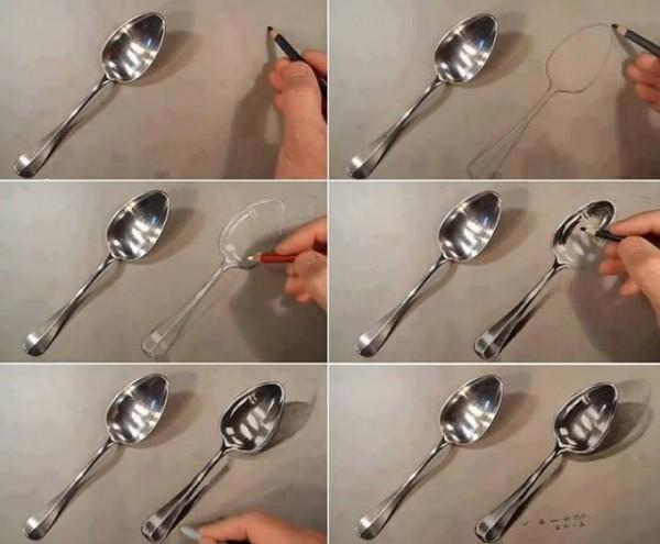 Como dibujar una cuchara