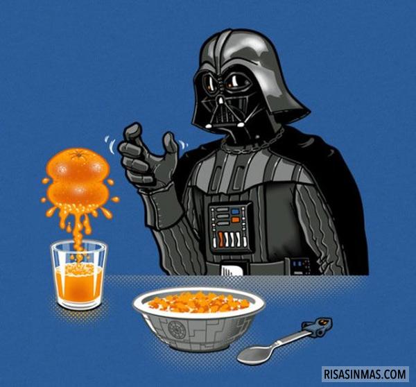 Darth Vader preparando el desayuno