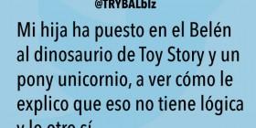 El dinosaurio de Toy Story y un pony unicornio