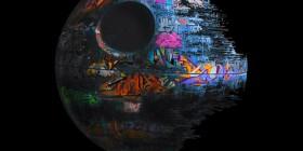 Estrella de la muerte pintada con graffitis