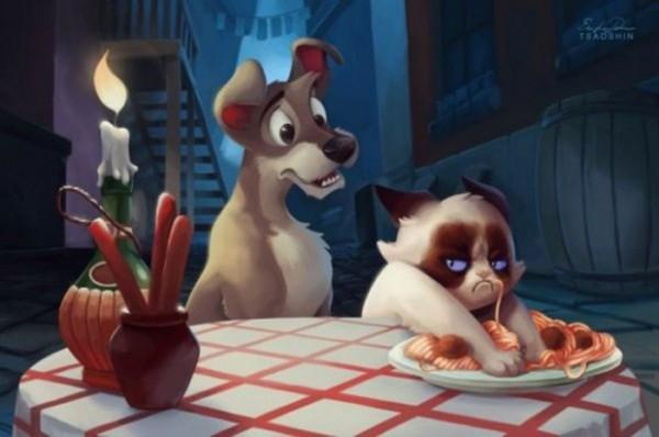 Grumpy cat y el vagabundo