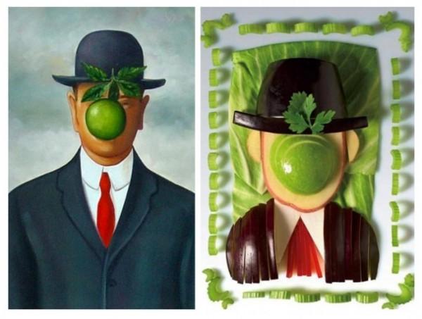 Hijo del hombre con frutas y vegetales