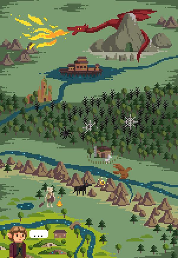 Mapa de El hobbit en píxeles