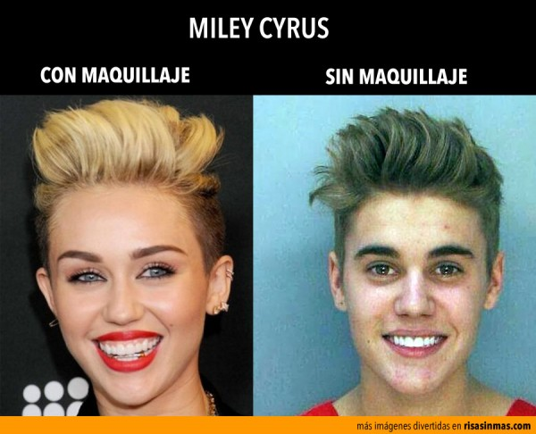 Miley Cyrus: con y sin maquillaje