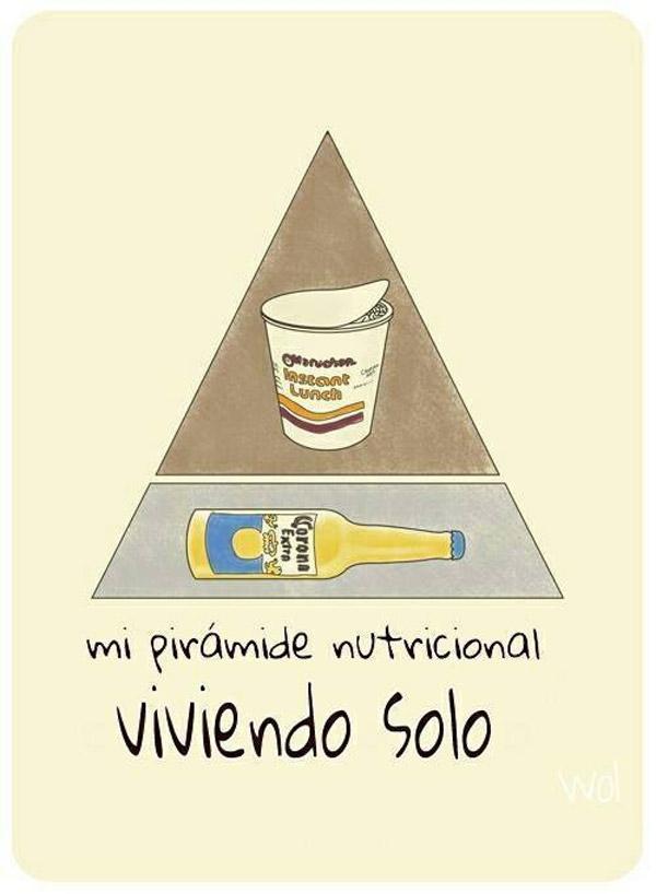 Pirámide nutricional viviendo solo