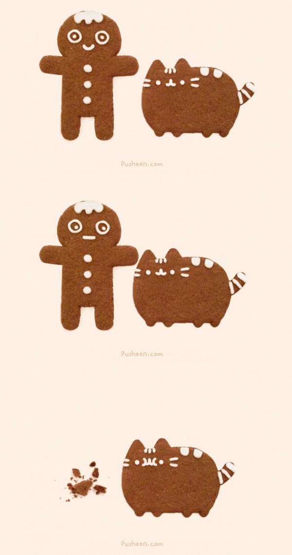 Pusheen y su amiga la galleta
