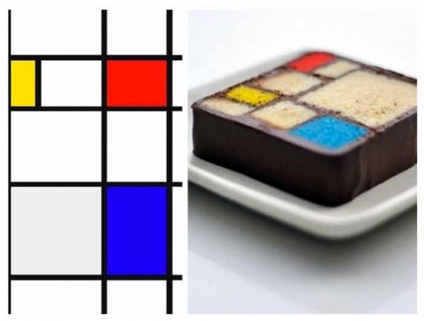 Tarta inspirada en la obra de Piet Mondrian