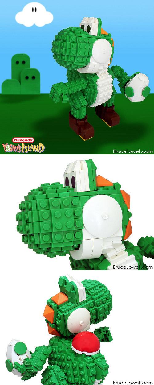 Yoshi realizado con LEGO
